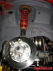 The front suspension, topped with a Wilwood drag brake kit.